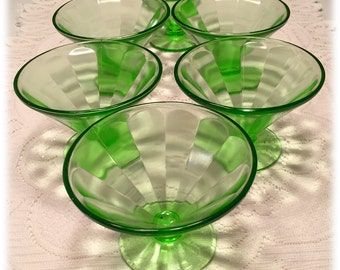 Set of 6 Federal Green Panel Optic Footed Sherbet Stems Depression Glass 1930s Christmas Glassware