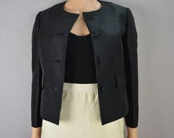 50s Black Blazer Long Sleeve Jacket Vintage Work Clothing 50s Clothing Size Small Epsteam
