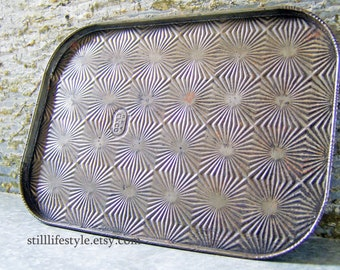 Vintage Cookie Sheet, Ekco Starburst Tin, Extra Small Baking Tray, Tin Serving Tray, Embossed Tin Pan, Ekco Baking Sheet, Food Photo Prop