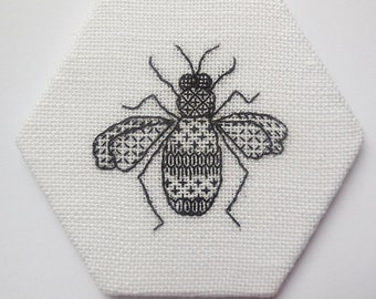 Bee blackwork embroidery kit