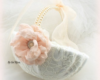 Flower Girl Basket, Ivory, Cream, Blush, Vintage Wedding, Pearl Handle, Gatsby, Lace Girl Basket, Lace Basket, Pearls, Lace, Crystals, Round