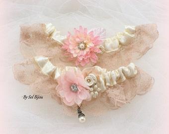 Wedding Garter, Ivory, Blush, Pink, Champagne, Garter Belt, Toss Garter, Vintage Wedding, Lace Garter, Elegant, Satin Garter, Crystals
