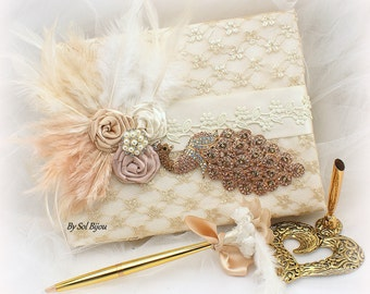 Peacock Guest Book, Gold,Ivory, Rose Gold, Gatsby, Vintage Wedding, Lace Guest Book, Feather Guest Book, Signature Book, Signing Pen, Pearls