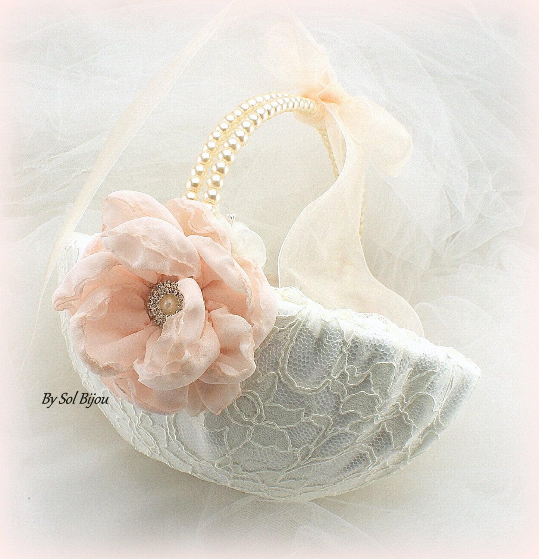Flower Girl Basket Blush : Flower girl basket ivory cream blush vintage wedding