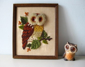 Vintage 1970s needlework owl picture Handmade owl picture
