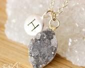 50 OFF SALE Multi Colour Druzy Necklace - Letter Charm Necklace - Silver - Gold