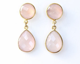 15% OFF Gold Pink Chalcedony Gemstone Earrings - Post Setting - For Her