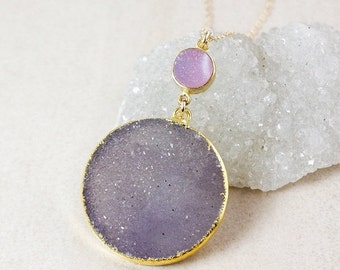 50% OFF Pink and Purple Druzy Necklace – Choose Your Druzy – 14K Gold Filled Chain