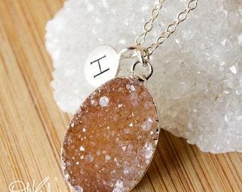 50% OFF Druzy Initial Necklace - Oval Druzy Pendants - Colourful Druzy, Brown Sugar