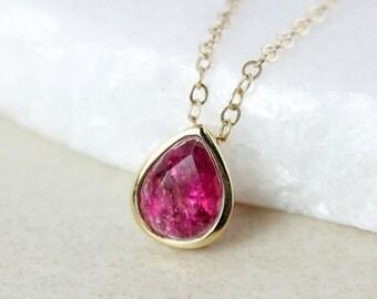 40 OFF SALE Dark Pink Tourmaline Necklace - Teardrop Pendant - 10K Yellow Gold