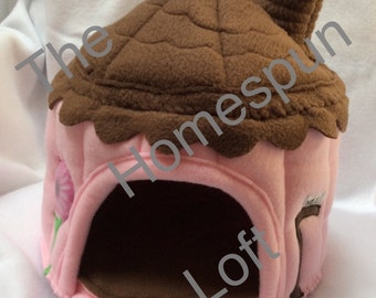 Small Pet Bedding Gingerbread Cottage Pocket Pet House Fleece Pet Home Custom Order Item Made to Order