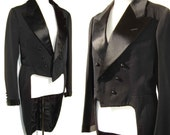 Vintage 20s Tuxedo Jacket Morning Coat Mens Black Cutaway Tailcoat Steampunk Swallowtail Bespoke S / XS