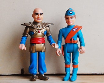 Vintage Pair Thunderbirds Toy Action Figures Collectible Matchbox TV Show.