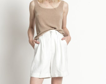 Vintage 90s White Linen High Waist Pleated Summer Shorts | XS