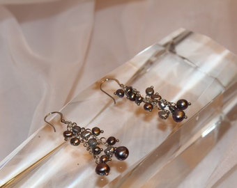 Freshwater Pearl Earrings - multi tone