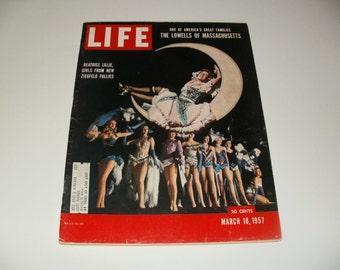 Vintage Life Magazine March 18 1957 - Ziegfeld Follies Cover - Art Scrapbooking Paper Ephemera Vintage Ads Collectible