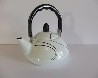 Vintage Teapot - Retro Tea Pot - Black and White
