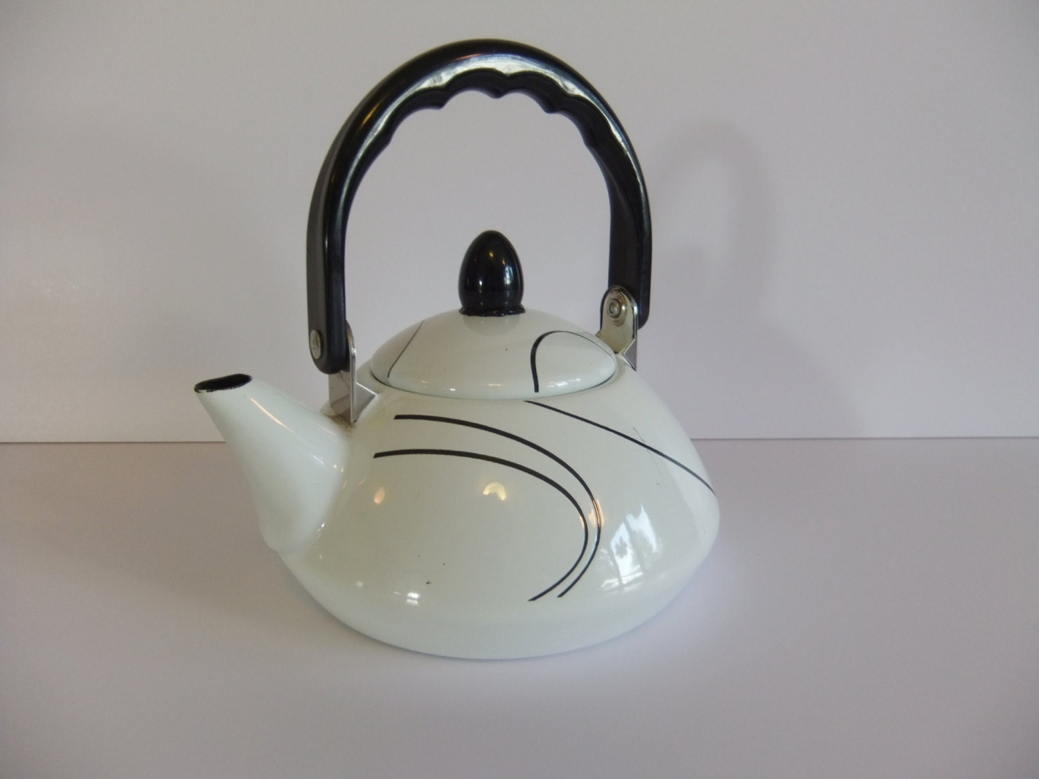 Vintage Teapot Retro Tea Pot Black And White By Nimblesnook