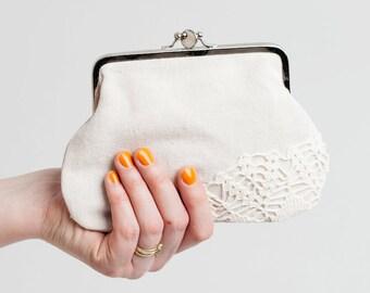 double frame purse with vintage lace, linen