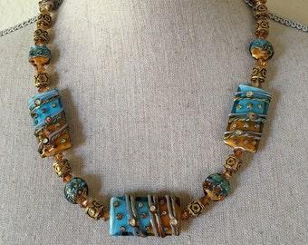 Lampwork Glass Beads Necklace/Caribbean Blue/Amber/14k Bali Beads/Swarovski Crystals/ Earrings/Bracelet
