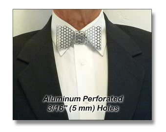 "Metal Neck Bow Tie, Aluminum, Perforated 3/16"" (5 mm) Holes"