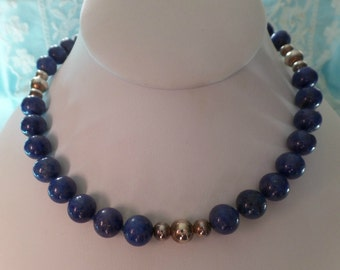 Vintage Sterling Silver .925 Lapis Lazuli Beaded NEcklace Signed