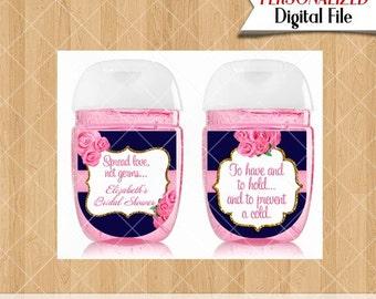 Mini Hand Sanitizer Favors Pocketbac Labels Bridal Shower Favors Navy Blue and Pink Blush Favor Printable Personalized digital PDF #316