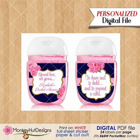 Mini hand sanitizer favors pocketbac labels bridal shower for Hand sanitizer bridal shower favors
