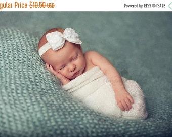 White Hair Bow, Satin Hair Bow w/ Ruffled Flowers & Silver Sequins Headband or Hair Clip, Baptism, Christening, Baby Child Girls Headband