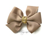 Taupe And Gold Hair Bow, Pinwheel Bows, Girl Taupe Hair Bow, Toddler Hair Bow, Piggy Tail Hair Bows, Back To School Bows, Ponytail Hair Bow