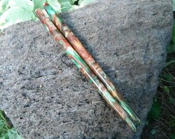 "Copper Gecko Lava Explosion hair stick medium size 5 1/2"" 6"" 6 1/2"" 7"" 7 1/2"""
