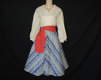 vintage folklore dress 60s shirtwaist dress gypsy fit and flare chevron stripe skirt large XL
