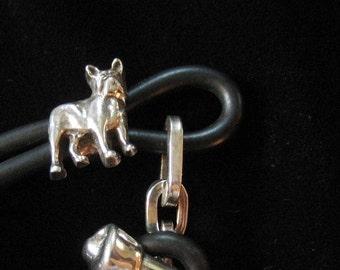 Sterling Silver Boston Terrier or Bulldog Bracelet, Black Rubber