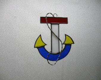 Anchor stained glass suncatcher