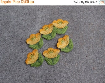 SALE SALE SALE Vintage Destash Lot Embroidered Appliques Patches Flowers Tulips Set Six Yellow Green Sewing Crafting Supplies