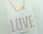 Gold Bar necklace with stamped heart - Choose carded LOVE or in a silver Gift Box - Valentine's Gift or any occasion
