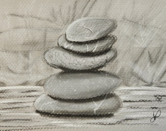 Stacked Stones - Original Charcoal Drawing by Jamies Art 5x7