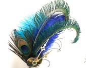 Hair fascinator curled Peacock feather swords , dyed blue ostrich feathers,Dance,costume , hair clip on