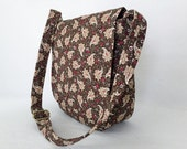 Messenger Bag Ipad Bag Travel Bag Hipster Cross Body Adjustable Strap Vera Bradley Type Paisley Leaves Browns Cream Red