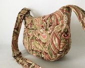Diana Mini Hobo Shoulder Bag Purse Vera Bradley Type Quilted Paisley Pink Green Brown Cream