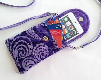 Iphone 6 Plus Smart Phone Gadget Case Detachable Neck Strap Quilted Fabric Batik Purple Lavender Swirl