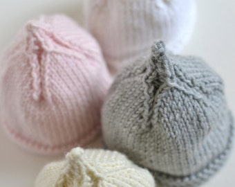EASY PREEMIE and NEWBORN baby beanie knitting pattern Classic Pixie