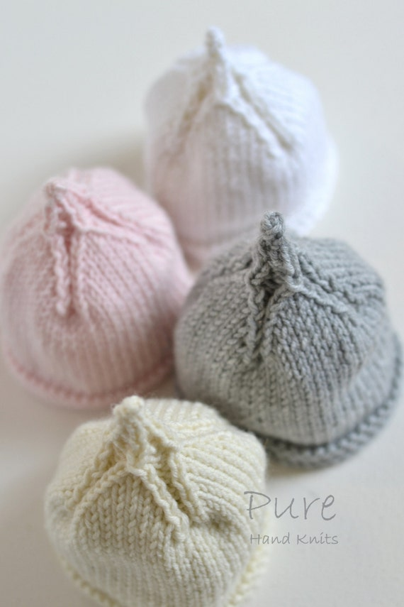 Easy Prem Baby Knitting Free Pattern : EASY PREEMIE and NEWBORN baby beanie knitting pattern Classic