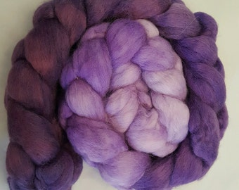 Purple Rain colorway! Ultra-soft 100% Baby Alpaca top roving, 4 ounces, hand-dyed luxury spinning fiber