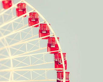 Ferris Wheel Art, Photography, Wall Art Prints, Chicago Home Decor, red, pale blue, creme, Nursery, Playroom, Whimsical, Minimalist, Chicago