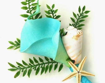 Turquoise Calla Lily Real Touch Corsage, Boutonniere, Beach, Seaside, Shell