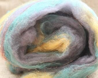 Polypay Wool, Alpaca and Sparkle Batt - Spinning Batt - Wool Batt -Fiber Batt - Hand Dyed - Minnesota Grown Wool - 25