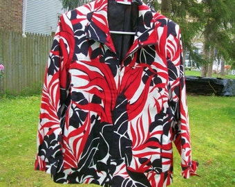 Susan Graver Cotton  Zippered Jacket sz M  Lined Black Red White on sale