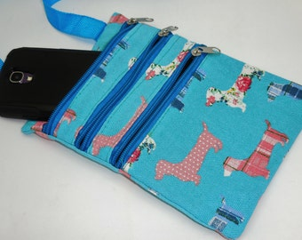 Wiener Dog Dachshund Multi Pouch Messanger Bag with Zippers Blue Turquoise