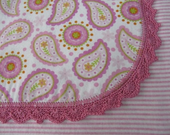 Pink Paisley and Striped Baby Blanket